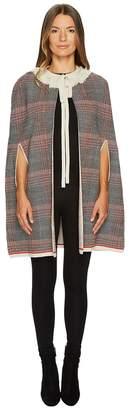 Sonia Rykiel Check Woolsilk Cape Women's Coat