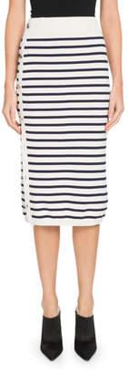 Altuzarra Enya Button-Side Awning-Stripe Midi Skirt