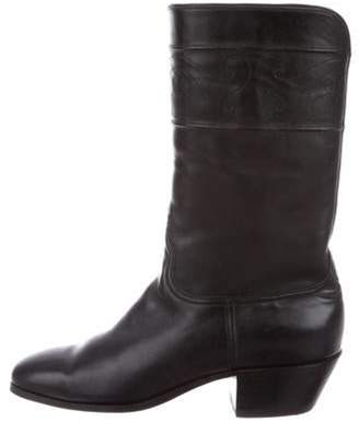 Lucchese Leather Knee-High Boots Black Leather Knee-High Boots