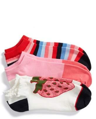 Kate Spade Strawberry 3-Pack No-Show Socks