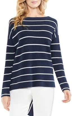 Vince Camuto Asymmetrical Hem Stripe Sweater
