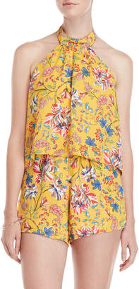 MONICA L Space By Wise Kelly Bloom Printed Halter Neck Romper