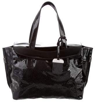 Stuart Weitzman Perforated Patent Leather Tote