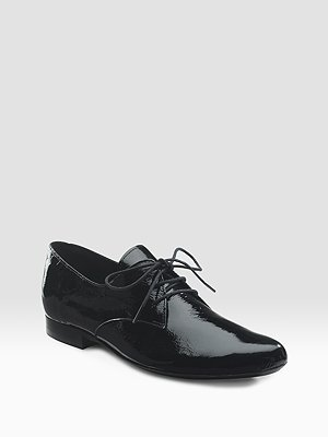 Patent Derby Lace-Up Flats