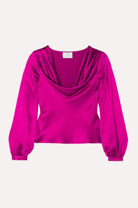 Rebecca De Ravenel Draped Textured-silk Blouse - Magenta