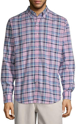ST. JOHN'S BAY Long Sleeve Gingham Slim Button-Front Shirt Mens