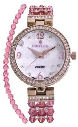 Croton Ladies Pink Swarovski Bead Watch with Austrian Crystals and Coordinated Bracelet