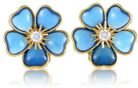 Van Cleef & ArpelsVan Cleef & Arpels 18K Yellow Gold Mimi Nerval Diamond & Blue Stone Clip-on Earrings