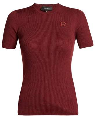 Rochas Logo Applique Ribbed Wool Sweater - Womens - Burgundy
