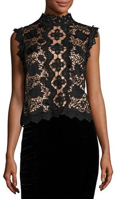 Nanette Lepore Sleeveless Boxy Lace Top, Black/Nude $298 thestylecure.com