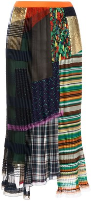 Kolor mixed-print pleated skirt