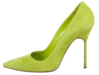 Manolo Blahnik Suede Pointed-Toe Pumps