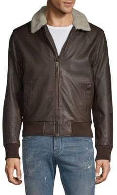 Saks Fifth Avenue Shearling Collar Leather Bomber Jacket