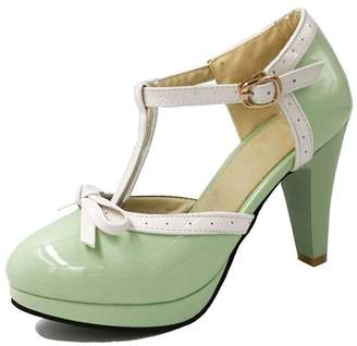 SaraIris Women Chunky High Heel T-Strap with Little Bow Knot Ankle Strap Pump Shoes
