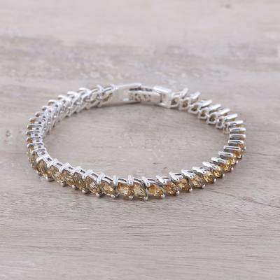 Eternity Sunshine Citrine and Sterling Silver Tennis-Style Bracelet from India