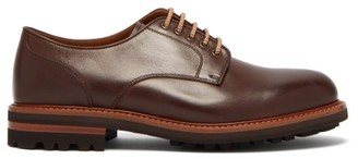 Brunello Cucinelli Tread Sole Leather Derby Shoes - Mens - Brown