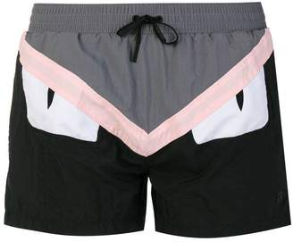 Fendi color block swim shorts