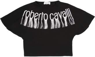 Roberto Cavalli Embroidered Logo Cotton Jersey T-Shirt