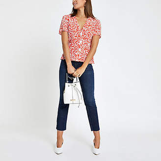 River Island Red spot print tea top