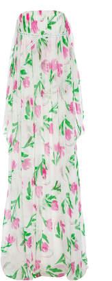 Rosie Assoulin Floral Strapless Empire Waist Gown