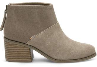 Desert Taupe Suede and Felt Women's Lacy Booties