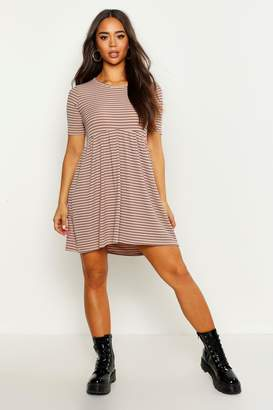 boohoo Rib Crew Neck Oversized Smock Dress