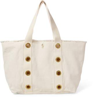 Ralph Lauren Grommet-Trim Large Canvas Tote