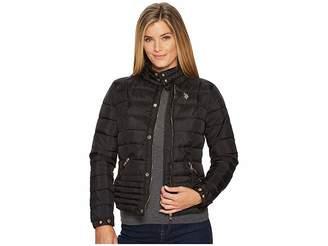 U.S. Polo Assn. Quilted Moto Puffer Jacket Women's Coat