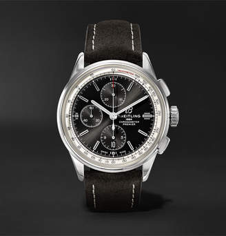 Breitling Premier Chronograph 42mm Stainless Steel And Nubuck Watch, Ref. No. A13315351b1x1 - Black