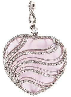 18K Diamond & Rose Quartz Heart Pendant