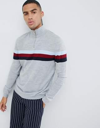 Asos Design DESIGN half zip color block sweater in gray