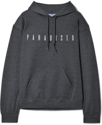 Paradised - Printed Cotton-blend Jersey Hoodie - Anthracite