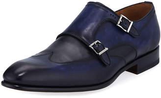Magnanni Men's Ian Calf Leather Double-Monk Shoes, Dark Blue