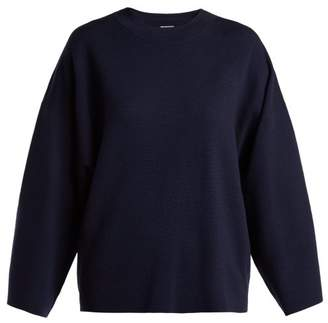 Allude Wide Sleeve Wool Sweater - Womens - Navy