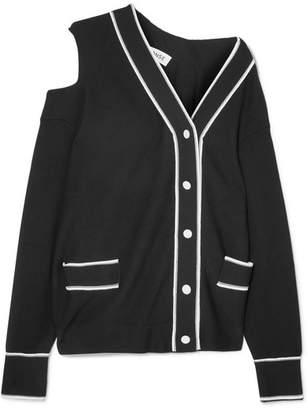 Cold-shoulder Striped Cotton And Modal-blend Cardigan - Black