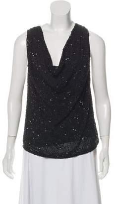 Haute Hippie Sequin-Embellished Cowl Neck Top Black Sequin-Embellished Cowl Neck Top