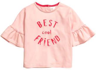 H&M Jersey Flounce-sleeved Top - Pink