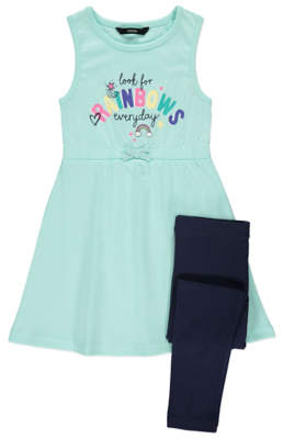 George Slogan Jersey Dress and Leggings Outfit