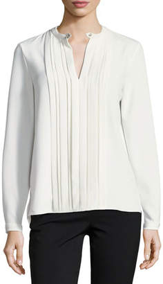 Elie Tahari Skaila Pleated-Front Blouse