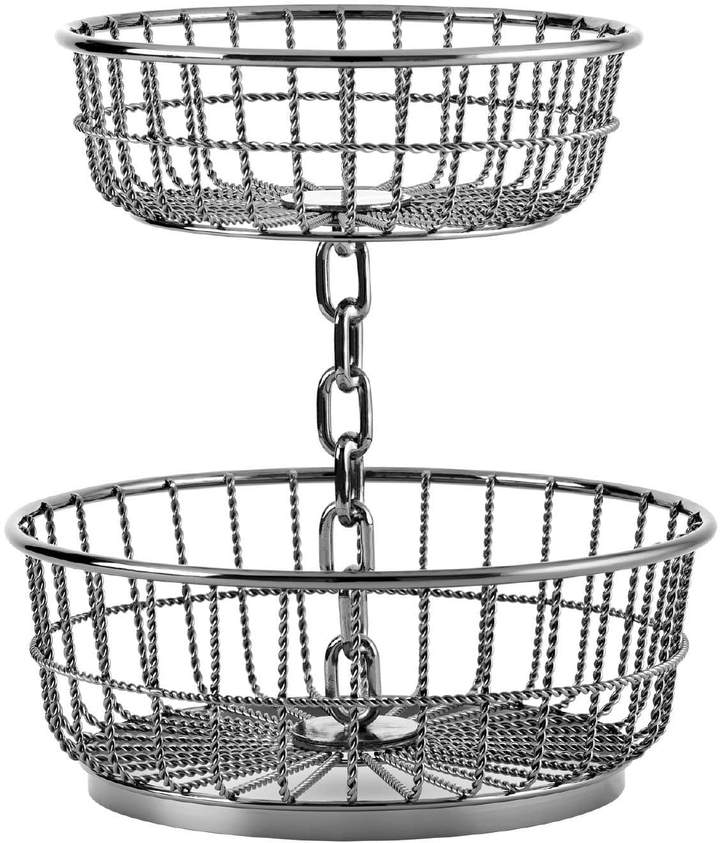 Gourmet Basics Chain 2-Tier Round Basket