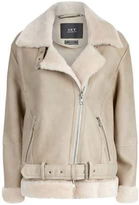 a29b01d02ffc5 at Harrods · SET Shearling Trim Suede Jacket