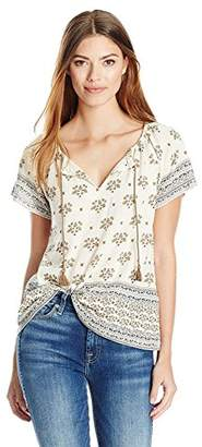 Lucky Brand Women's Border Printed Top