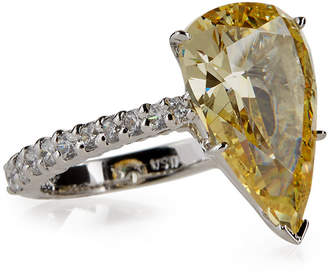 FANTASIA Large Pear-Cut Crystal Ring, Yellow