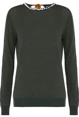 Nina Ricci Shell-Embellished Wool Cotton And Silk-Blend Sweater
