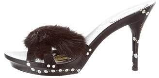 Rene Caovilla Mink Slide Sandals