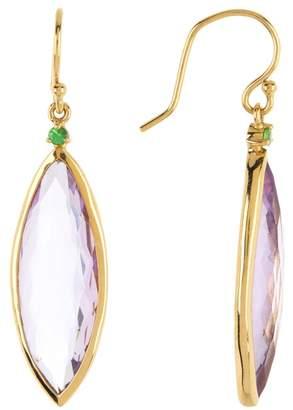 Ippolita 18K Gold Prisma Rose de France & Tsavorite Linear Earrings