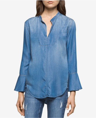 Calvin Klein Jeans Bella Chambray Bell-Sleeve Top $79.50 thestylecure.com