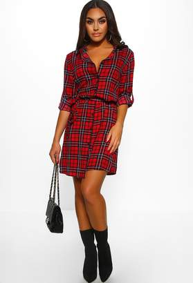 Pink Boutique Preach It Babe Red Checked Shirt Dress