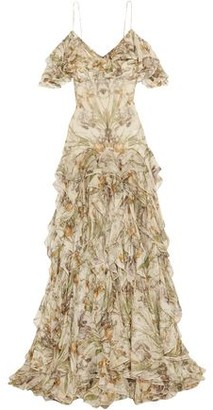 Alexander McQueen Cold-Shoulder Ruffled Floral-Print Silk-Georgette Gown