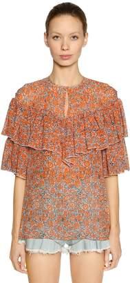 Giamba Ruffled Floral Print Silk Georgette Top